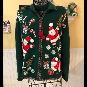 Tiara International cotton blend Christmas zip up